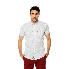 Camisa-para-Hombre-Cuello-Button-Down-Oculto-Slim-Fit-Porter-Mc-blanco-white-target-mini-print