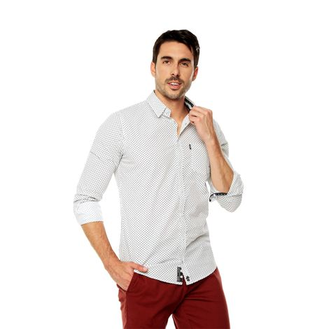 Camisa-para-Hombre-Cuello-Button-Down-Oculto-Slim-Fit-Porter-Ml-blanco-white-target-mini-print