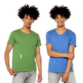Camiseta-para-Hombre-Basica-Cuello-V-Mozav-Totto-Colors-azul-azul-verde