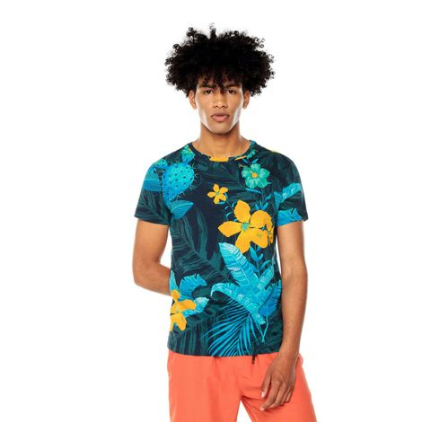 Camiseta-para-Hombre-Full-Print-Pasilla-azul-pasilla-navy-blazer-flowers
