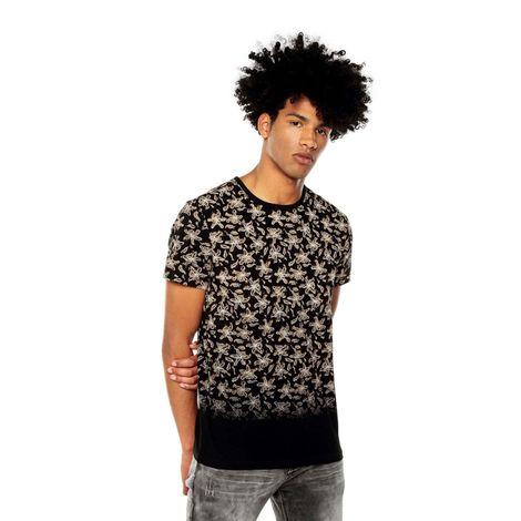Camiseta-para-Hombre-Full-Print-Poblano-negro-poblano-black-flowers