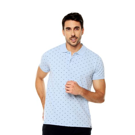 Polo-para-Hombre-Mini-Prints-Celaya-azul-kentucky-blue-mini-diamond-print
