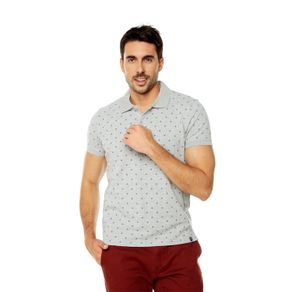 Polo-para-Hombre-Mini-Prints-Celaya-gris-gray-mix-mini-diamond-print