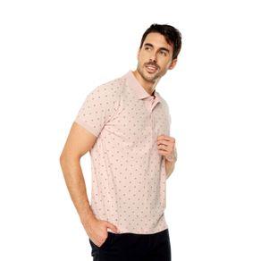 Polo-para-Hombre-Mini-Prints-Celaya-rosado-peach-whip-mini-diamond-print