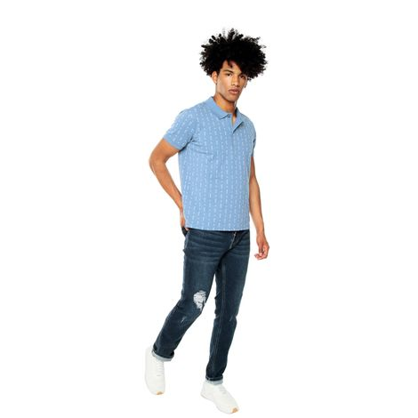 Polo-para-Hombre-Mini-Prints-Junkana-azul-coronet-blue-mini-kactus-print