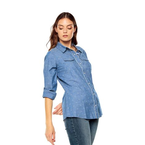 Camisa-para-Mujer-Manga-Larga-Gevange-azul-gevange-indigo-rhombs-azul-gevange-indigo-rhombs