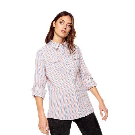 Camisa-para-Mujer-Manga-Larga-Gevange-azul-gevange-indigo-rhombs-rosado-canyon-stripes