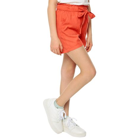 Short-para-Niña-con-Cinturon-en-Tela-Batur-naranja-hot-coral-naranja-hot-coral