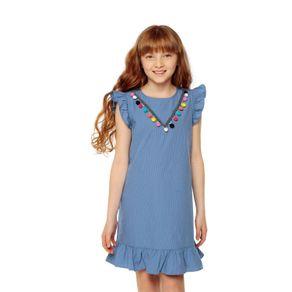 Vestido-para-Niña-con-Borlas-Zitaro-azul-kuni-blue-stripes-azul-kuni-blue-stripes