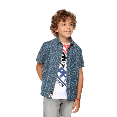 Camisa-Manga-Corta-para-Niño-Full-Estampado-Eption-azul-calaca-and-birds-azul-calaca-and-birds