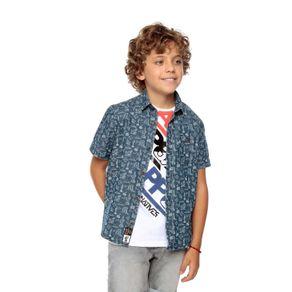 Camisa-Manga-Corta-para-Niño-Full-Estampado-Eption-azul-calaca-and-birds-azul-calaca-and-birds