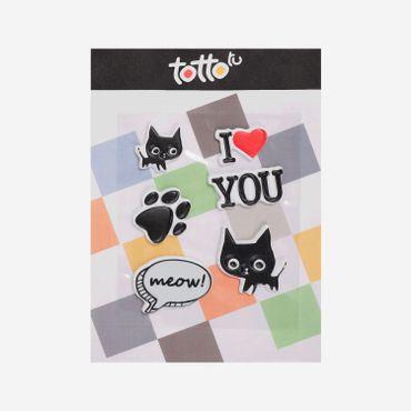 Sticker-para-Niña-Adhesivo-de-Espuma-Gato-Huella-Perro-Meow-Gato-I-Love-You-Koichy
