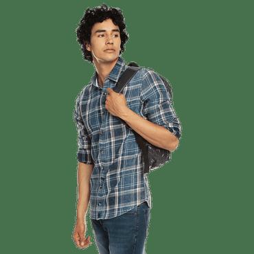 Camisa-para-Hombre-Manga-Larga-Cuadros-en-Jean-Indira